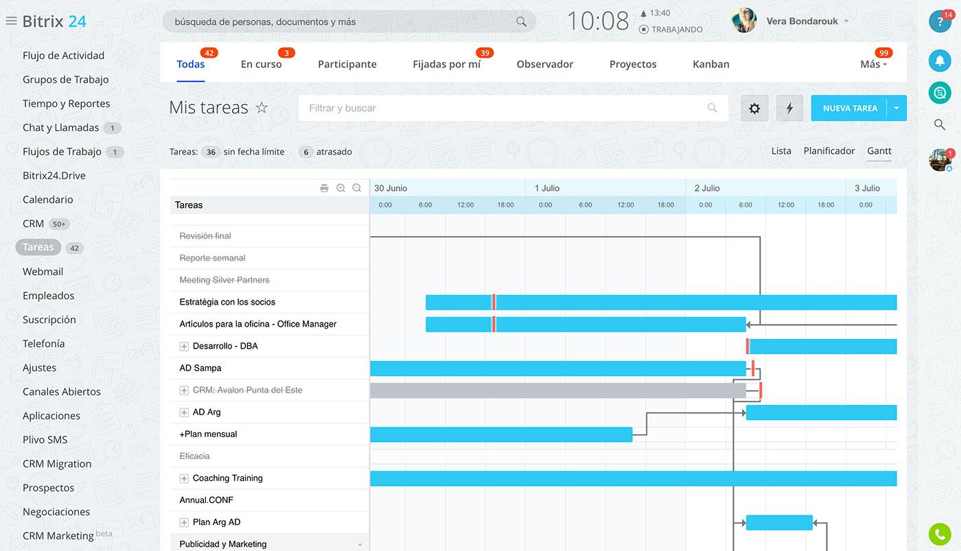 Administración colaborativa de tareas para equipos grandes y pequeños. Seguimiento del tiempo, recordatorios, informes, plantillas, dependencias de tareas y más.